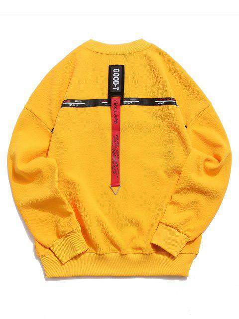 Sweat-shirt à épaules dénudées et à cordon - Jaune Clair XL Mobile