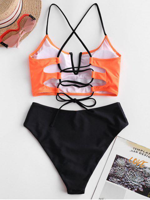 Bañador Tankini reversible con cordones y ZAFUL con cordones - Naranja de Halloween M Mobile