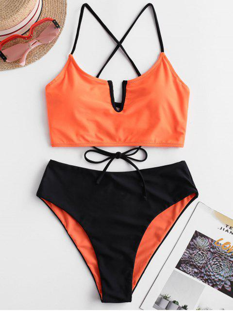 unique ZAFUL V-wired Lace-up Reversible Tankini Swimsuit - HALLOWEEN ORANGE XL Mobile