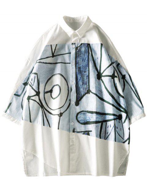 ladies Cut Hem Graffiti Graphic Spliced Short Sleeve Button Up Shirt - WHITE 2XL Mobile