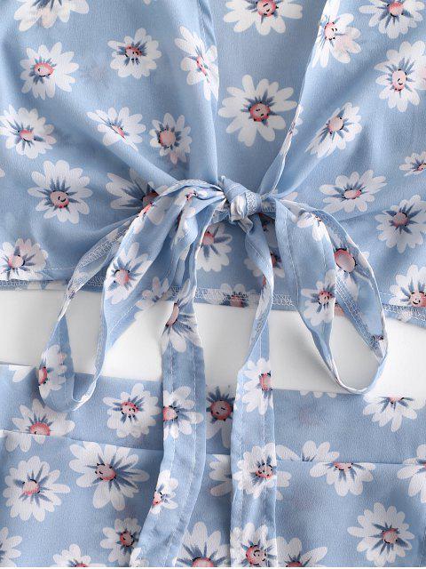 Robe Courte Fleurie Superposée Nouée en Avant Deux Pièces - Bleu Pastel L Mobile