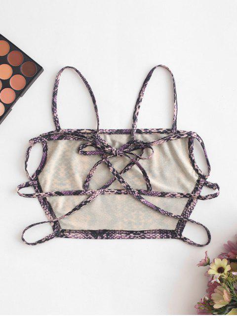 ladies ZAFUL Strappy Open Back Dalmatians Snake Print Cami Top - MULTI-C S Mobile
