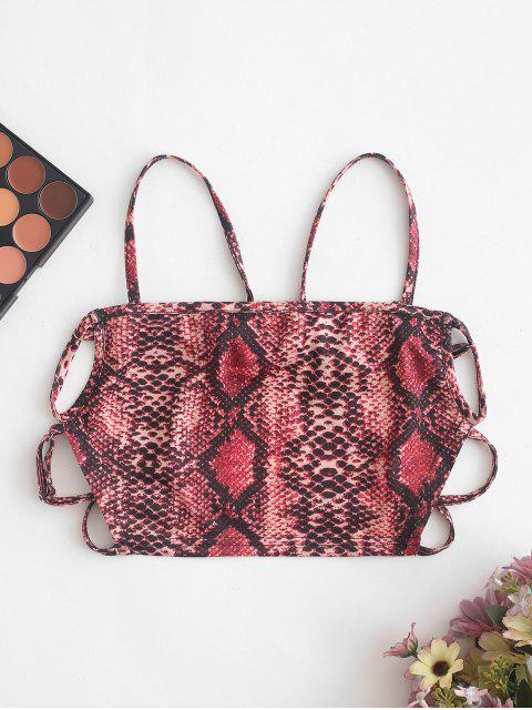 lady ZAFUL Strappy Open Back Dalmatians Snake Print Cami Top - MULTI-B S Mobile