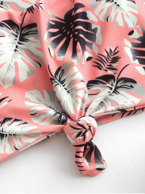 Bañador Tankini con nudo de hoja de palma tropical ZAFUL - Salmón Claro XL Mobile