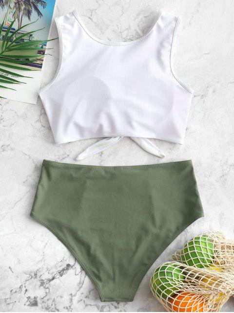 women ZAFUL Color Block Tie Hem High Waisted Tankini Swimsuit - CAMOUFLAGE GREEN M Mobile