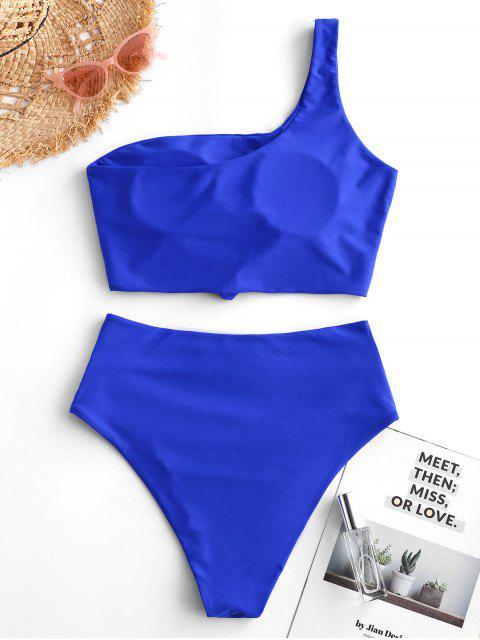 ZAFUL Tankini de Un Hombro Acanalado con Nudo - Azul de Arándanos XL Mobile