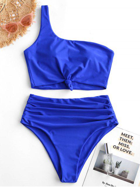 chic ZAFUL Knot Ruched One Shoulder Tankini Swimsuit - BLUEBERRY BLUE L Mobile