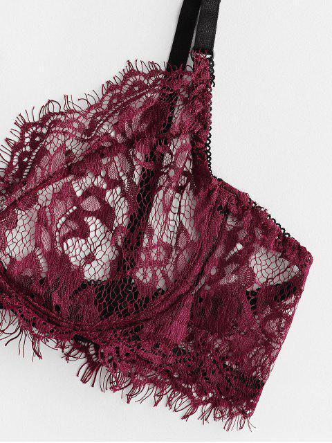蕾絲睫毛鋼託內衣套裝與項鍊 - 紅酒 L Mobile