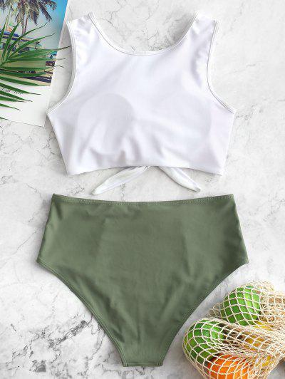 ZAFUL Color Block Tie Hem High Waisted Tankini Swimsuit, Camouflage green