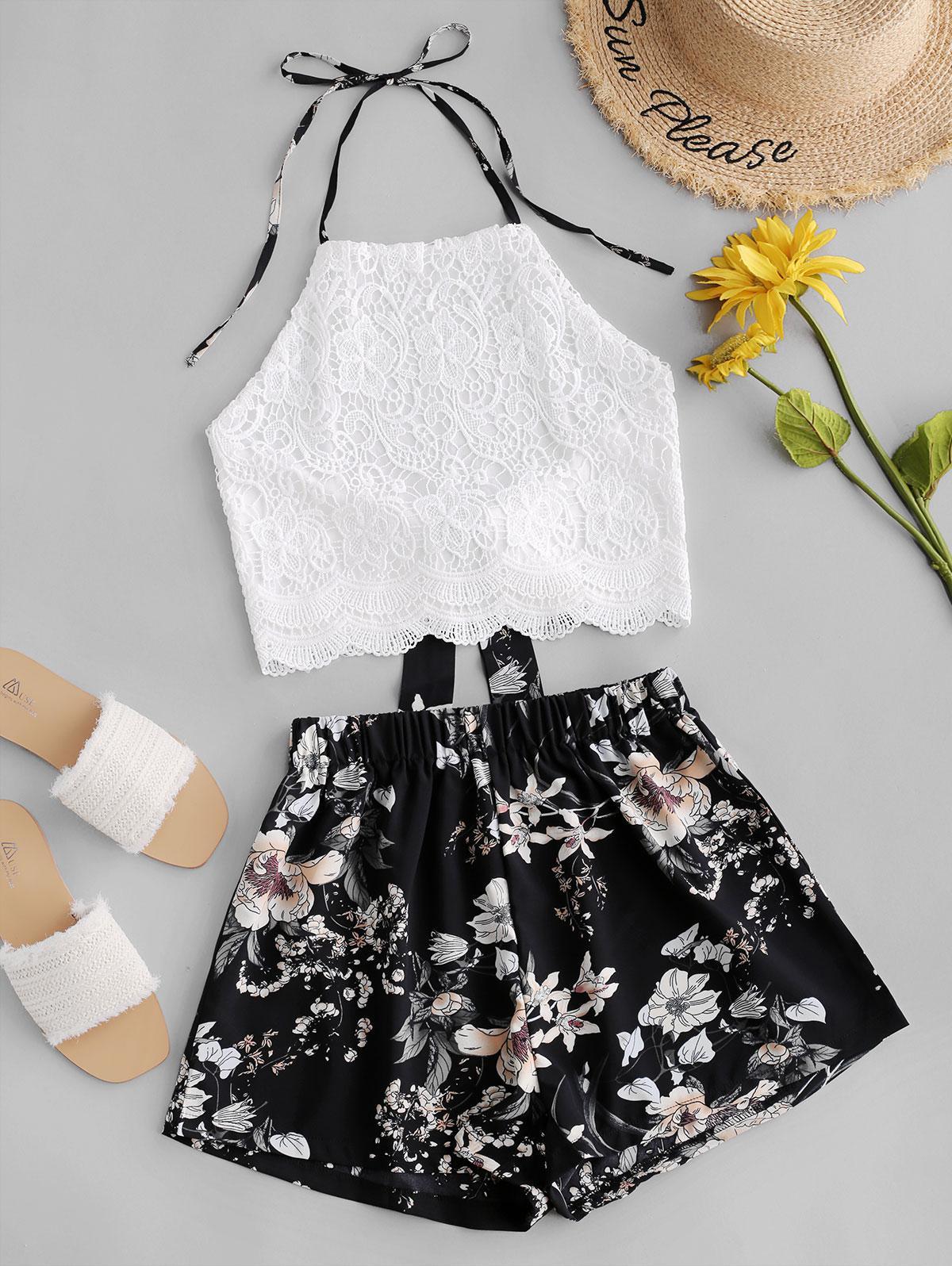 Lace Panel Floral Wide Leg Two Pieces Suit
