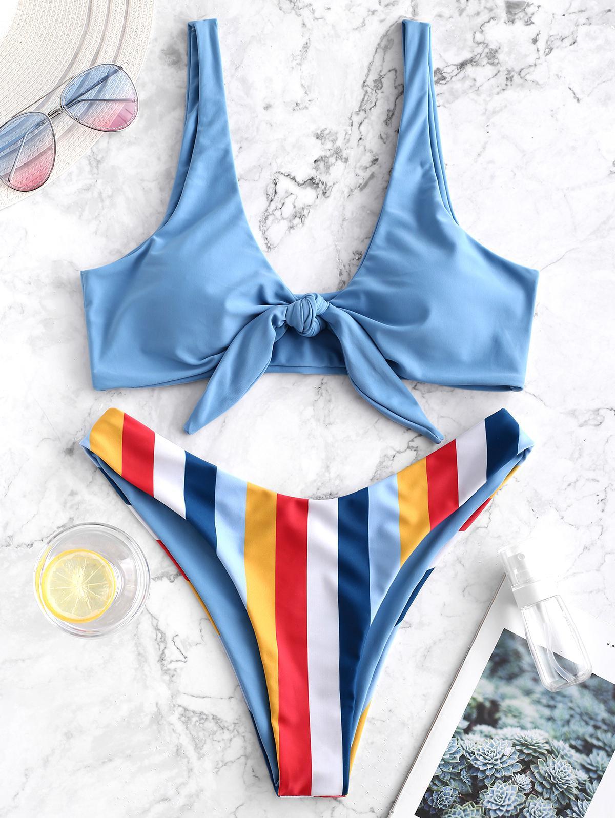 ZAFUL Striped Knotted High Cut Bikini Swimsuit thumbnail