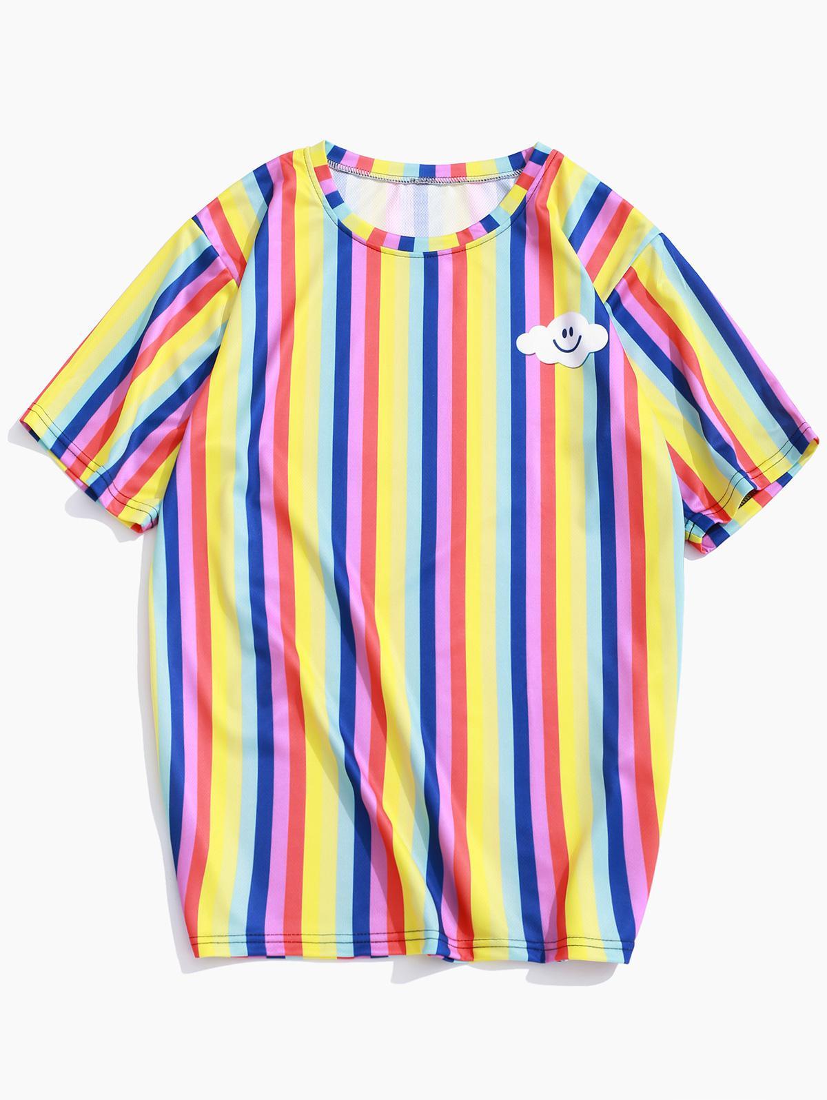 Strisce colorate Sorriso Emoji Stampa Casual T-shirt