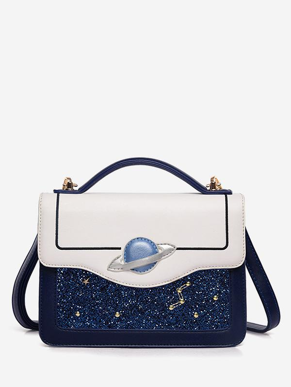 Artificial Leather Starry Sky Shoulder Bag, Denim dark blue