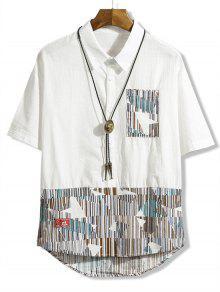 جيب الصدر مخطط هندسي تقسم قميص ارتفاع منخفض - أبيض Xl