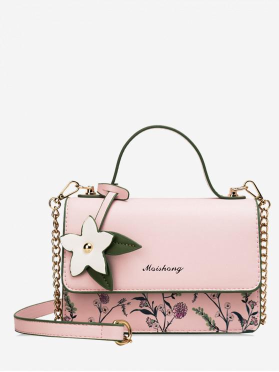 Borsa quadrata a forma di fiore con stampa floreale - Rosa