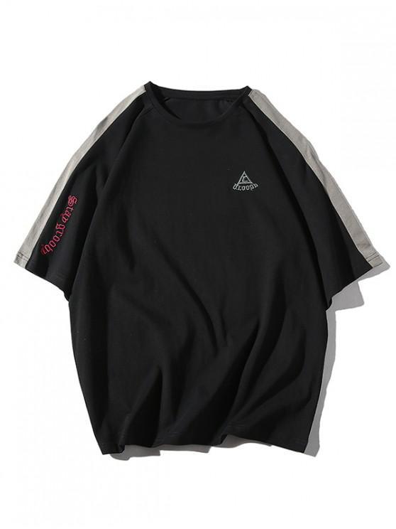 buy Raglan Sleeves Letters Panel T-shirt - BLACK M