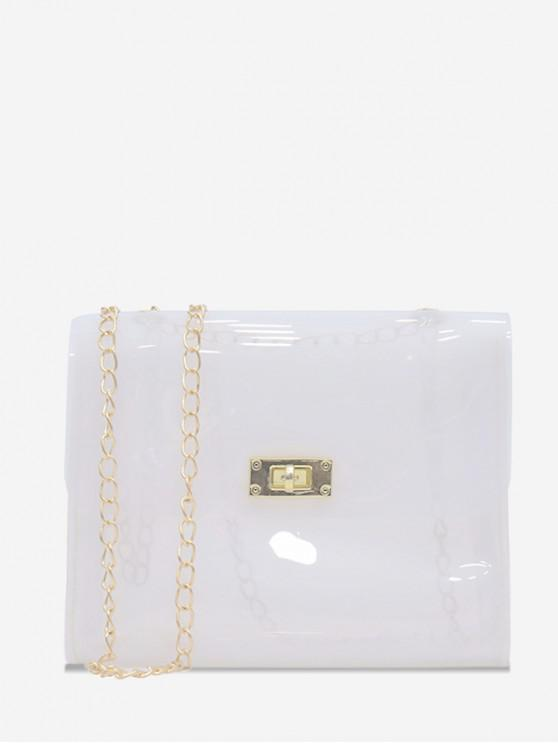 hot Solid Transparent Square Chain Crossbody Bag - WHITE