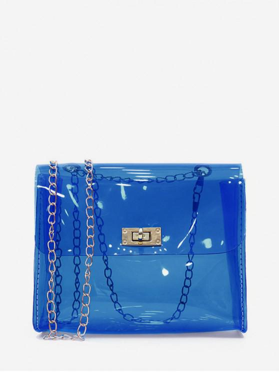 outfit Solid Transparent Square Chain Crossbody Bag - CRYSTAL BLUE