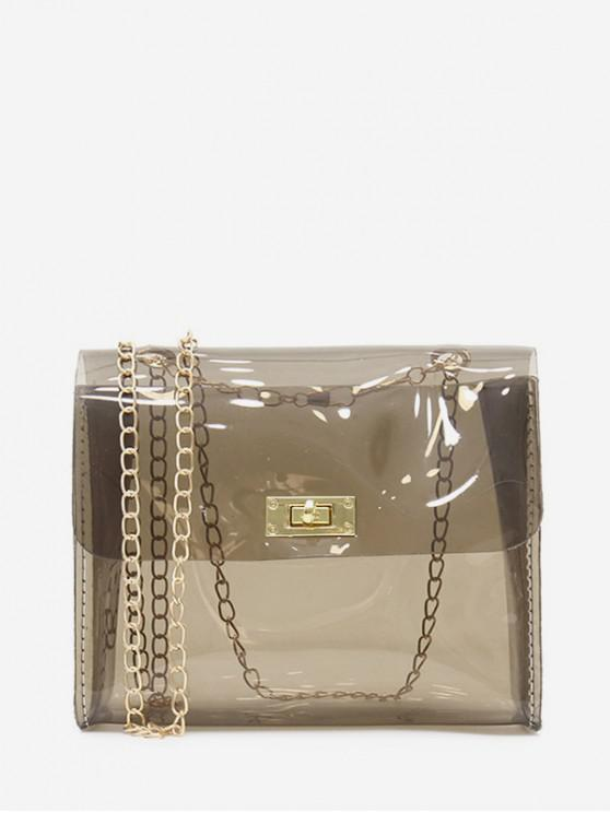 trendy Solid Transparent Square Chain Crossbody Bag - CARBON GRAY