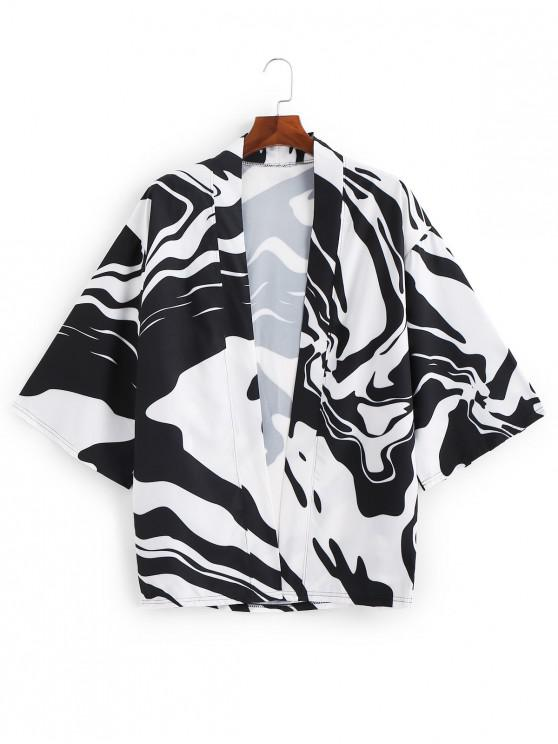 affordable Zebra Print Open Frontal Kimono Cardigan - NIGHT 3XL