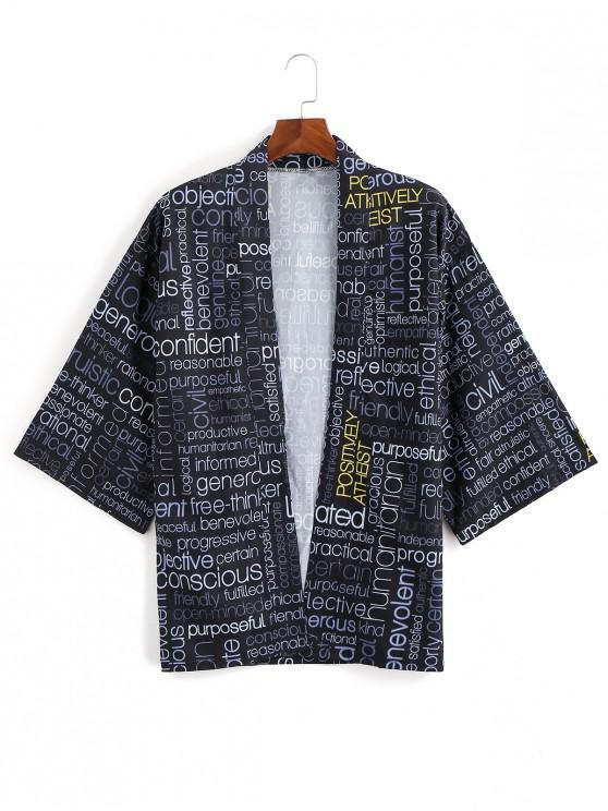 women Letter Graphic Allover Print Open Front Kimono Cardigan - BLACK L