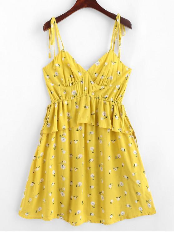 ZAFUL花卉領帶肩部荷葉邊Cami夏季連衣裙 - 玉米黃 S
