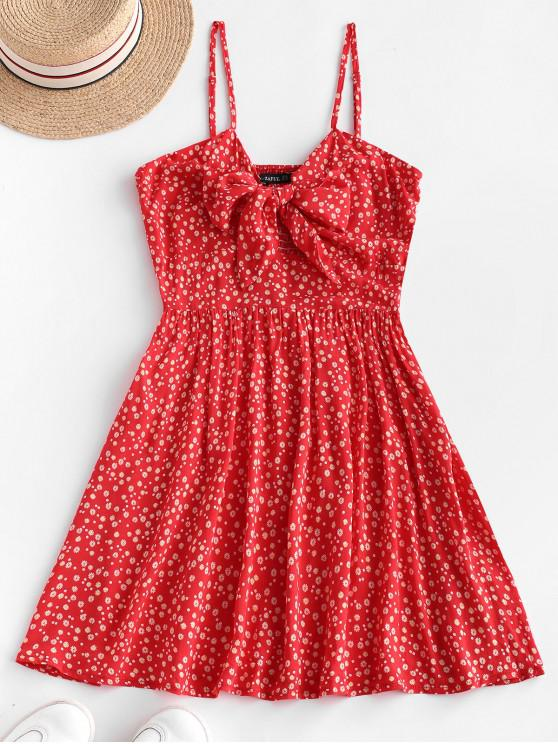 latest ZAFUL Ditsy Floral Knotted Smocked Cami Summer Dress - RUBY RED S
