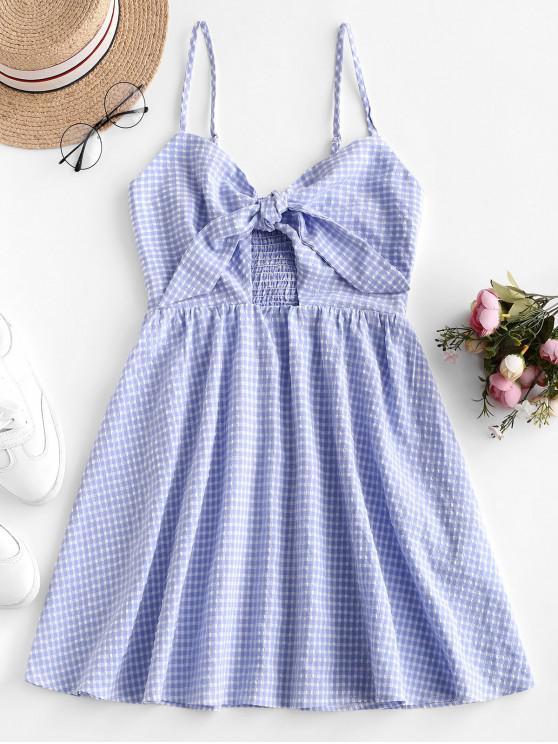 sale ZAFUL Gingham Knotted Smocked Cami Dress - DAY SKY BLUE M