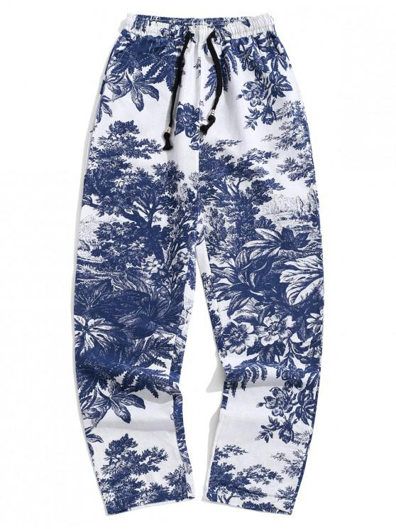 hot Flower Tree Plant Scenery Ink Painting Print Long Pants - SILK BLUE XL