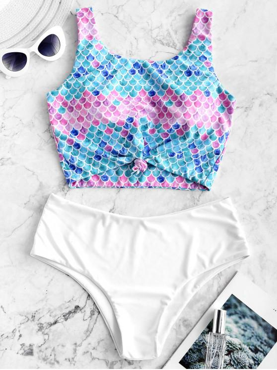 outfit ZAFUL Knot Scale Print Mermaid Tankini Swimsuit - MULTI-A S