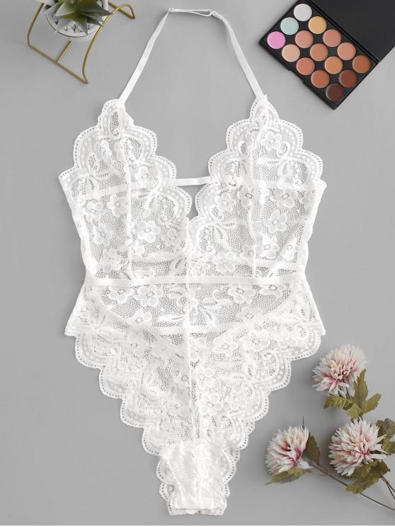 ladies Scalloped Laddering Strappy Lace Teddy - WHITE S