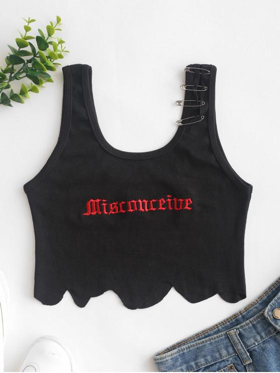 fancy Safety Pins Ribbed Scalloped Embroidered Tank Top - BLACK S