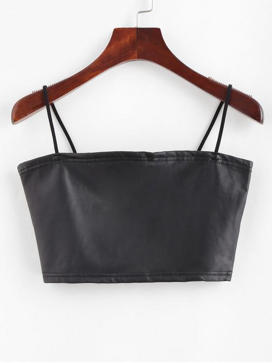 sale Faux Leather Crop Cami Top - BLACK L