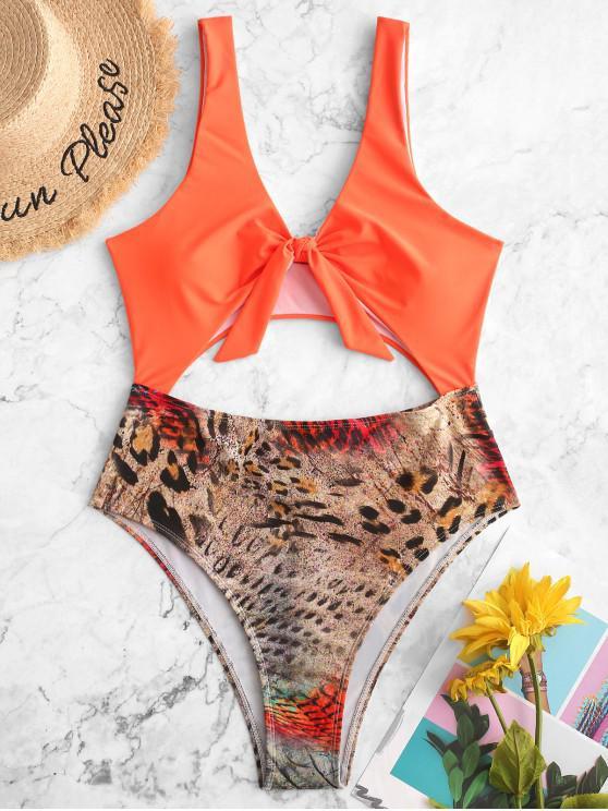 best ZAFUL Leopard Panel Knot Cutout One-piece Swimsuit - PUMPKIN ORANGE XL