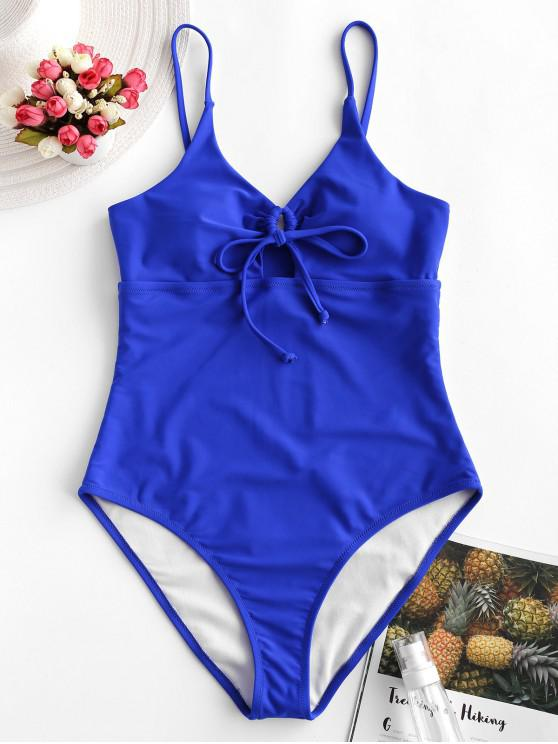 hot ZAFUL Tie Cutout One-piece Swimsuit - BLUEBERRY BLUE M