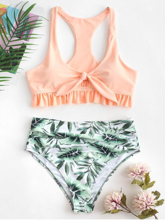 lady ZAFUL Leaf Print Ruffled Knot Racerback Ruched Tankini Swimsuit - DEEP PEACH 2XL