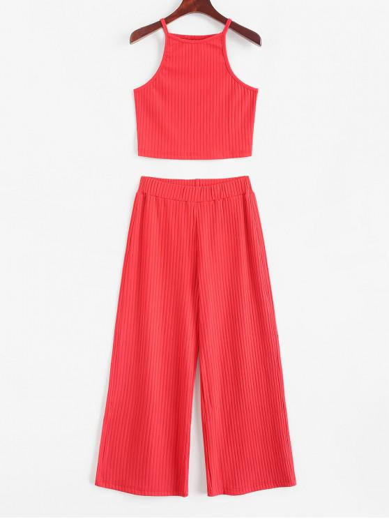 outfits ZAFUL Cropped Plain Ribbed Two Piece Set - RED L