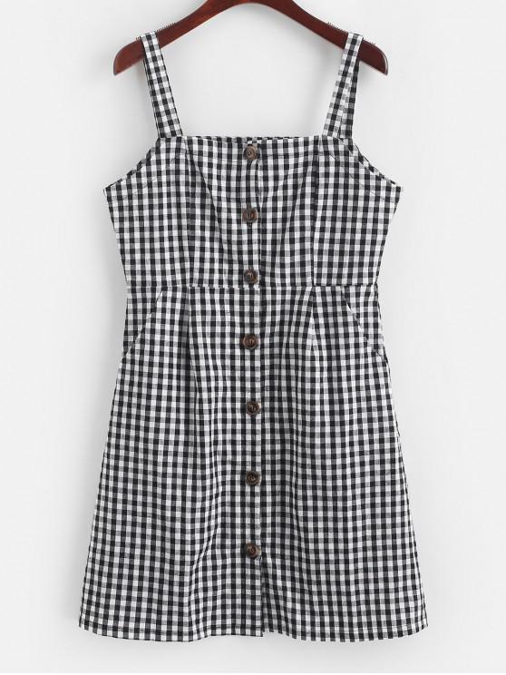 trendy ZAFUL Plaid Button Up Pockets Mini Dress - BLACK L