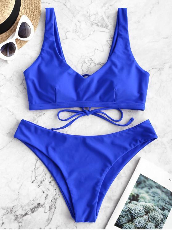 unique ZAFUL Lace Up Plain Padded Bikini Swimsuit - COBALT BLUE S