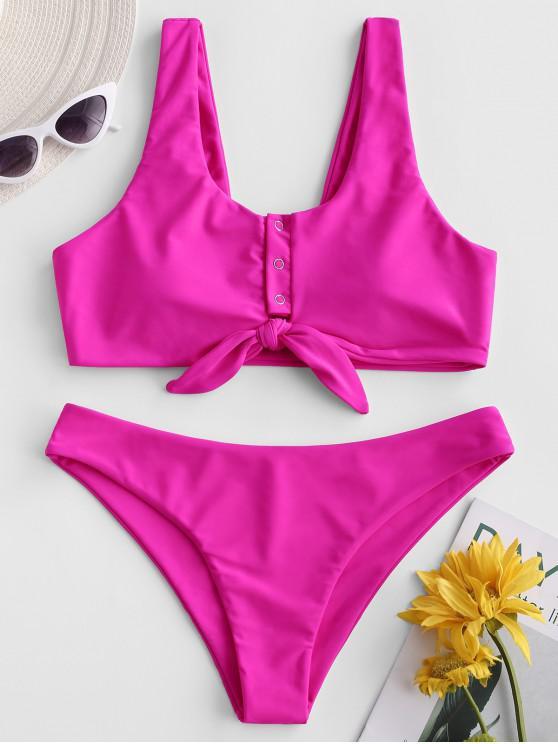 womens ZAFUL Snap-button Knot Tank Bikini Swimsuit - HOT PINK M