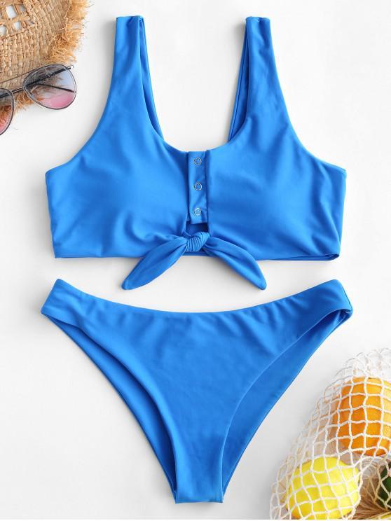 shops ZAFUL Snap-button Knot Tank Bikini Swimsuit - DODGER BLUE M
