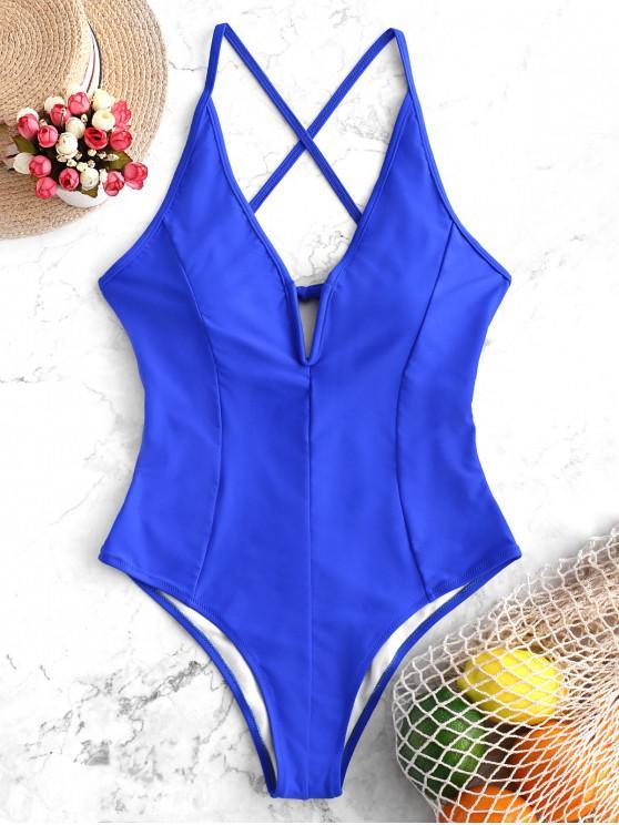 unique V Cut Cami Criss Cross One-piece Swimsuit - COBALT BLUE XL