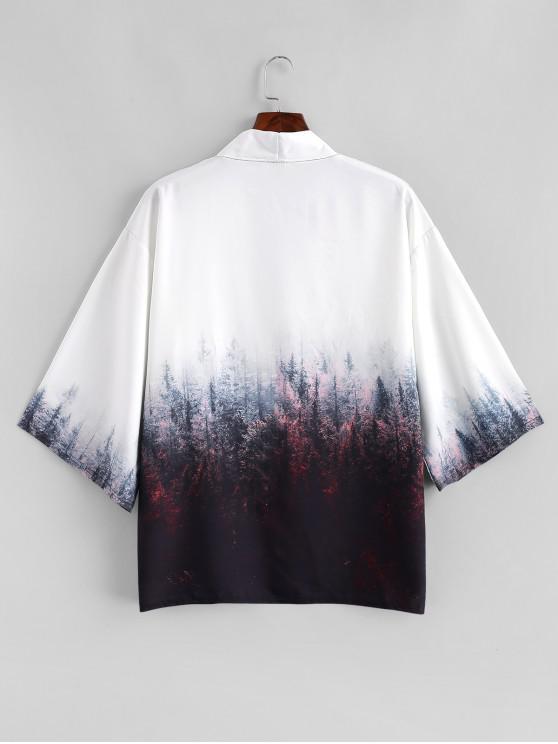 Forêt Kimono Ouverte M AvantCafé Imprimée Gilet Peinture De En rdxBoeC
