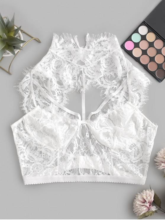 unique Harness Cut Out Eyelash Lace Bralette - WHITE L