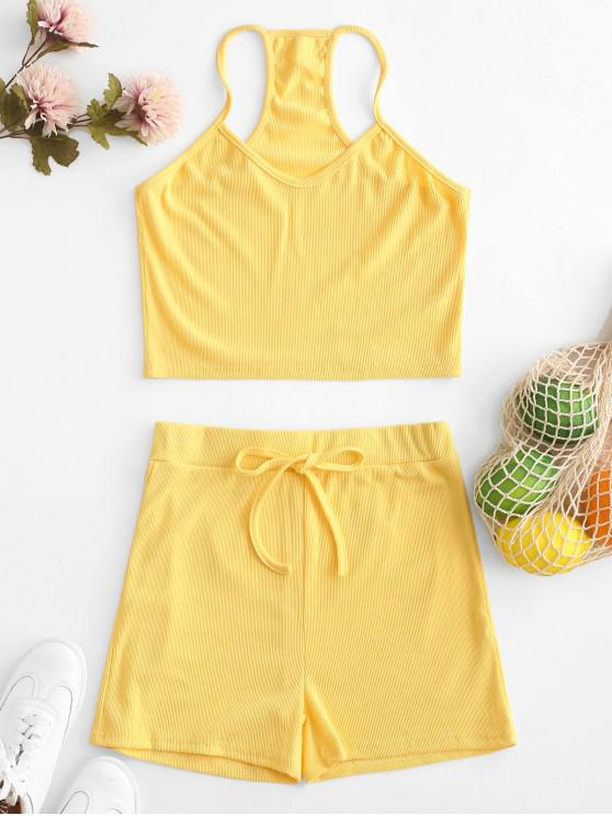new Cropped Ribbed Racerback Two Piece Set - YELLOW M