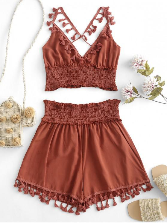 buy ZAFUL Tassels Smocked Solid Two Pieces Suit - CHESTNUT RED S
