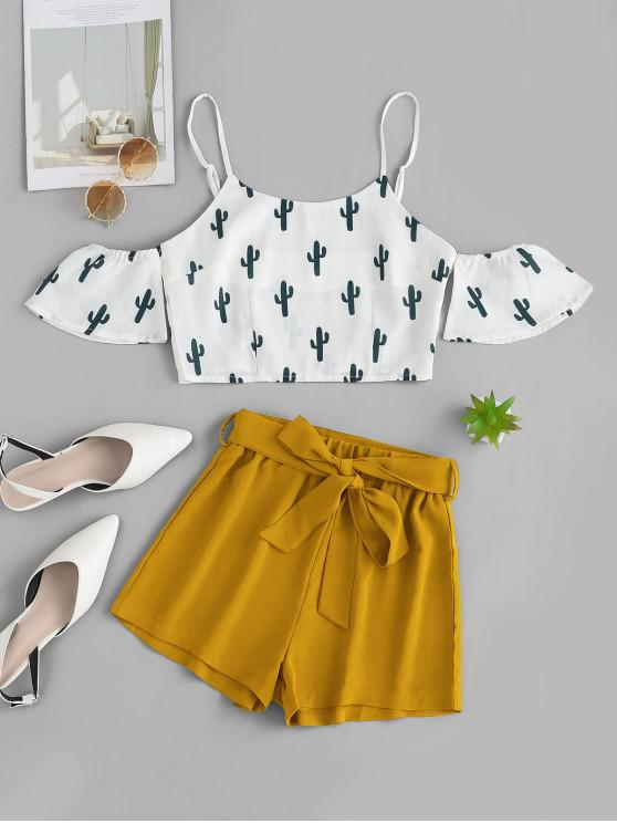 best ZAFUL Cold Shoulder Cactus Print Top And Shorts Set - YELLOW S