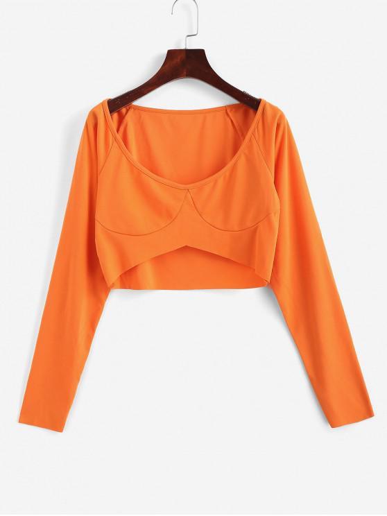 Круглый воротник Одноцветная Короткая Футболка - Тыква-оранжевый S