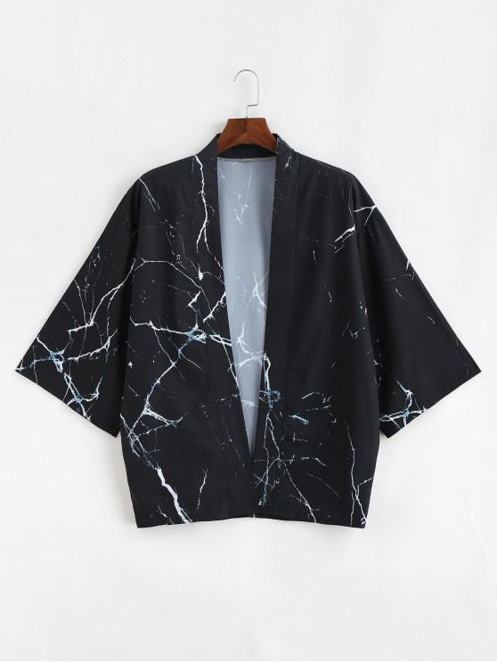 hot Marble Grain Print Open Front Kimono Cardigan - BLACK 2XL