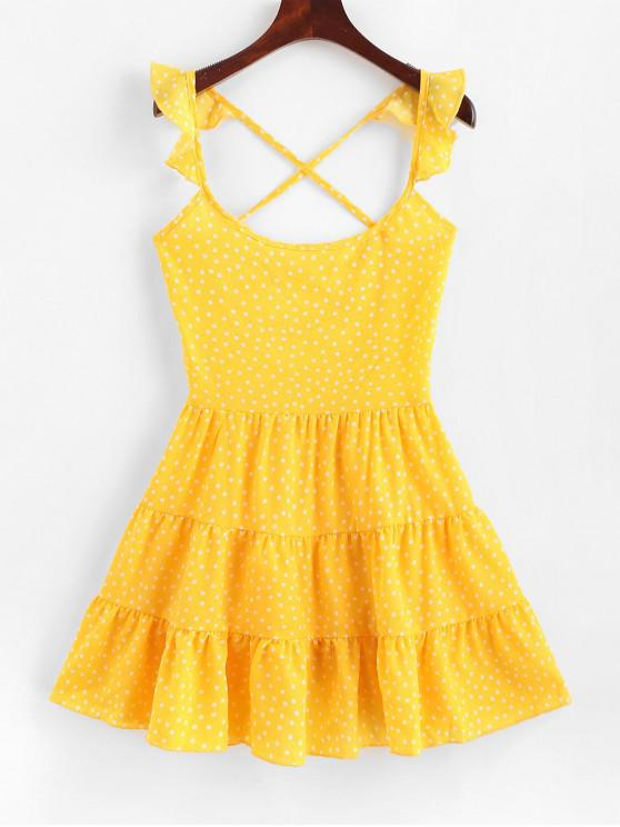 Dotted繫帶Criss Cross迷你連衣裙 - 黃色 XL